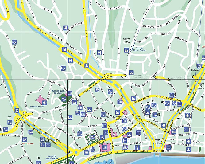 mapa do funchal madeira Madeira map   Funchal street map with hotel indication mapa do funchal madeira
