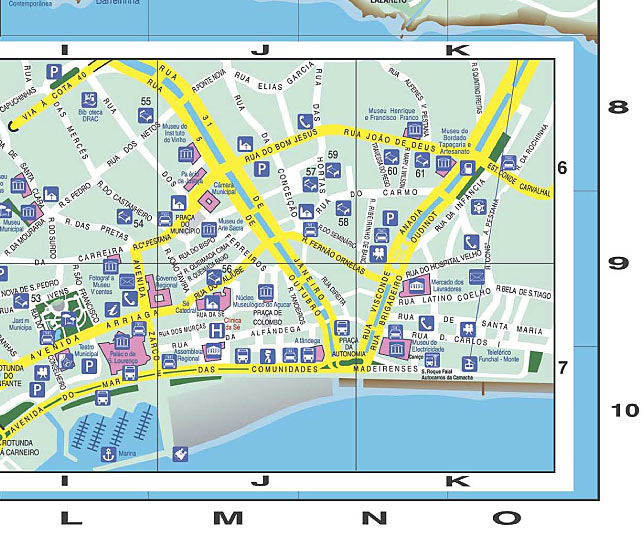 Madeira Map Funchal Street Map With Hotel Indication - Portugal hotel map